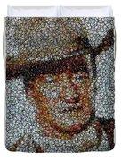 John Wayne Bottle Cap Mosaic Duvet Cover by Paul Van Scott