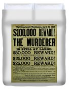 John Wilkes Booth Wanted Poster Duvet Cover by War Is Hell Store