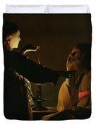 Jospeh And The Angel Duvet Cover by Georges de la Tour