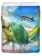 Jumping Mahi Mahi And Flyingfish Duvet Cover by Terry Fox