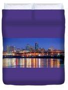 Kansas City Missouri Skyline At Night Duvet Cover by Jon Holiday