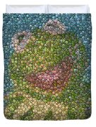 Kermit Mt. Dew Bottle Cap Mosaic Duvet Cover by Paul Van Scott