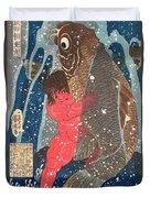 Kintoki Swims Up The Waterfall Duvet Cover by Kuniyoshi