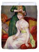 La Coiffure Duvet Cover by Renoir