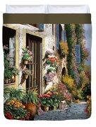 La Strada Del Lago Duvet Cover by Guido Borelli
