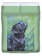 Labrador Retriever Pup And Dragonfly Duvet Cover by Lee Ann Shepard