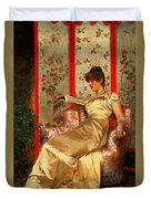 Lady Reading Duvet Cover by Joseph Frederick Charles Soulacroix