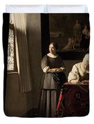 Lady Writing A Letter With Her Maid Duvet Cover by Jan Vermeer