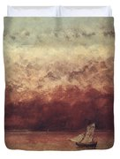 Lake Leman with Setting Sun Duvet Cover by Gustave Courbet