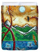 Land Of The Free Original Madart Painting Duvet Cover by Megan Duncanson