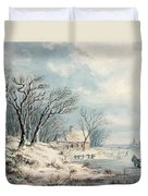 Landscape In Winter Duvet Cover by JJ Verreyt