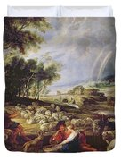 Landscape With A Rainbow Duvet Cover by Rubens