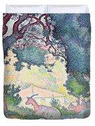 Landscape with Goats Duvet Cover by Henri-Edmond Cross