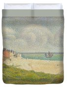 Le Crotoy Looking Upstream Duvet Cover by Georges Pierre Seurat