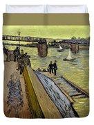 Le Pont De Trinquetaille In Arles Duvet Cover by Vincent Van Gogh