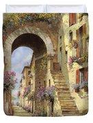 le scale e un arco Duvet Cover by Guido Borelli