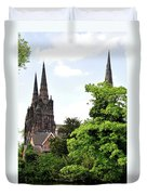 Lichfield Cathedral From Minster Pool Duvet Cover by Rod Johnson