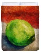 Lime Still Life Duvet Cover by Michelle Calkins