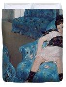 Little Girl in a Blue Armchair Duvet Cover by Mary Stevenson Cassatt
