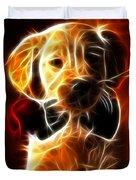 Little Puppy In Love Duvet Cover by Pamela Johnson