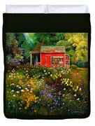 Little Red Flower Shed Duvet Cover by John Lautermilch