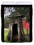 Loggers Outhouse Duvet Cover by Clayton Bruster