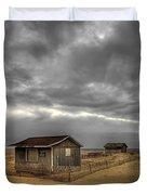 Lonely Beach Shacks Duvet Cover by Evelina Kremsdorf