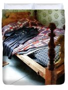 Long Sleeved Dress On Bed Duvet Cover by Susan Savad