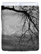 Longs Peak And Mt. Meeker The Twin Peaks Black And White Photo I Duvet Cover by James BO  Insogna