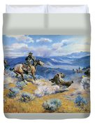 Loops And Swift Horses Are Surer Than Lead Duvet Cover by Charles Russell