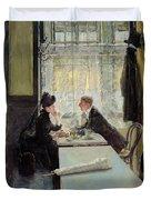 Lovers In A Cafe Duvet Cover by Gotthardt Johann Kuehl
