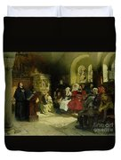 Luther Preaches Using His Bible Translation While Imprisoned At Wartburg Duvet Cover by Hugo Vogel