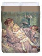 Madame Van De Velde And Her Children Duvet Cover by Theo van Rysselberghe
