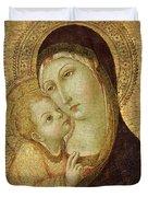 Madonna And Child Duvet Cover by Ansano di Pietro di Mencio