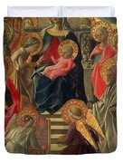 Madonna and Child enthroned with Angels and Saints Duvet Cover by Fra Filippo Lippi