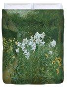 Madonna Lilies In A Garden Duvet Cover by Walter Crane