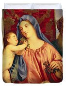 Madonna of the Cherries with Joseph Duvet Cover by Titian