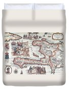 Map Of The Island Of Haiti Duvet Cover by French School