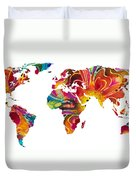 Map Of The World 2 -colorful Abstract Art Duvet Cover by Sharon Cummings