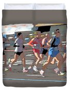 Marathon Runners II Duvet Cover by Clarence Holmes