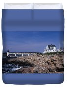Marshall Point Light Duvet Cover by Skip Willits