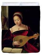 Mary Magdalene Playing The Lute Duvet Cover by Master of the Female Half Lengths