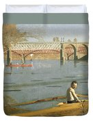 Max Schmitt In A Single Scull Duvet Cover by Thomas Eakins