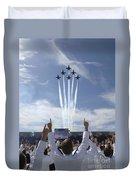 Members Of The U.s. Naval Academy Cheer Duvet Cover by Stocktrek Images