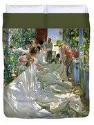 Mending The Sail Duvet Cover by Joaquin Sorolla y Bastida