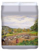 Mending The Sheep Pen Duvet Cover by William Henry Millais