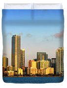 Miami Skyline in Morning Daytime Panorama Duvet Cover by Jon Holiday