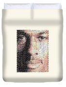 Michael Jordan Face Mosaic Duvet Cover by Paul Van Scott