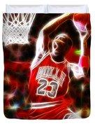 Michael Jordan Magical Dunk Duvet Cover by Paul Van Scott