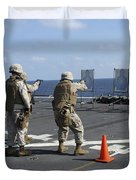 Military Policemen Train Duvet Cover by Stocktrek Images